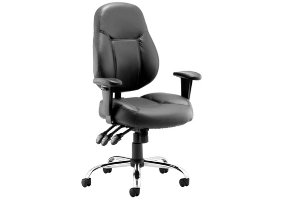 Sharp leather faced operator chair