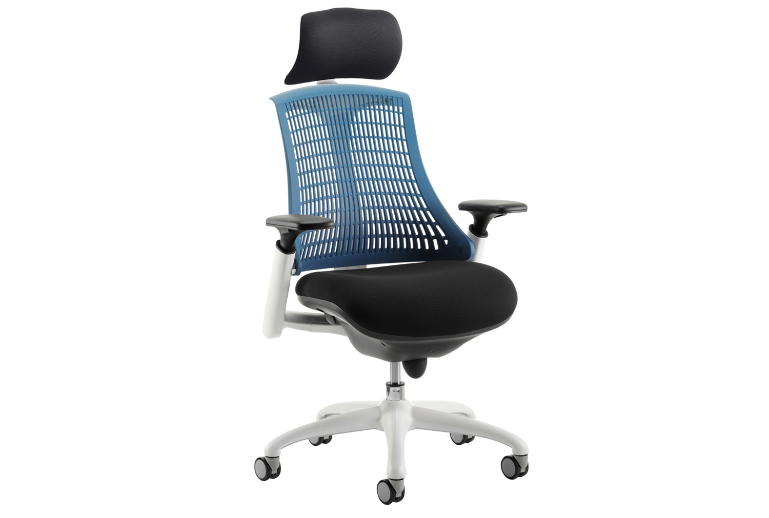 Warp white frame blue mesh back operator chair with headrest