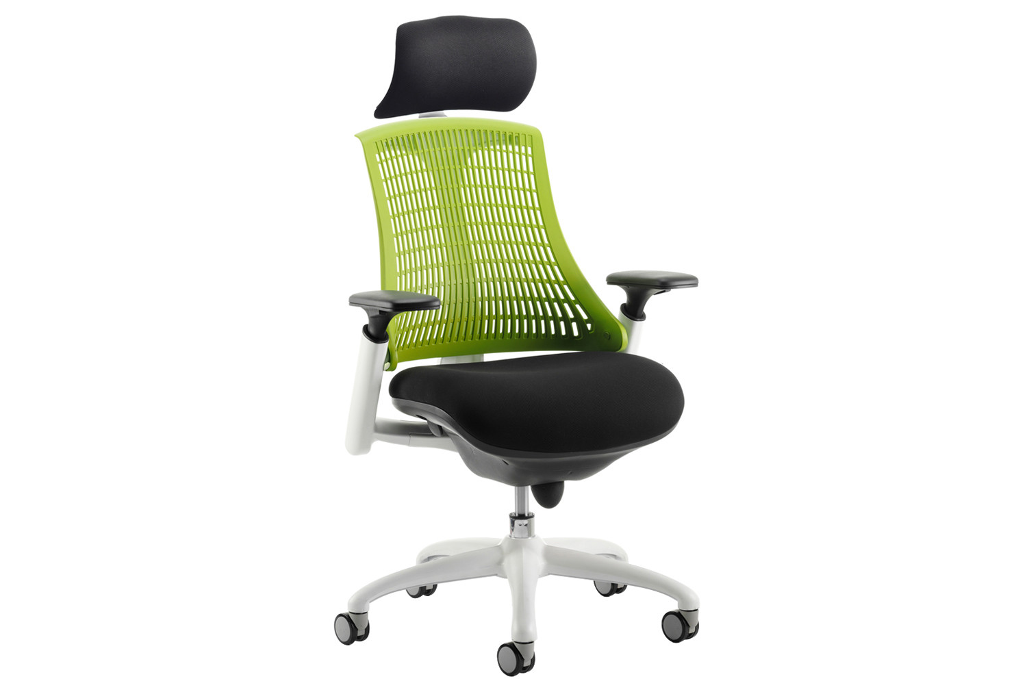 Warp white frame green mesh back operator chair with headrest