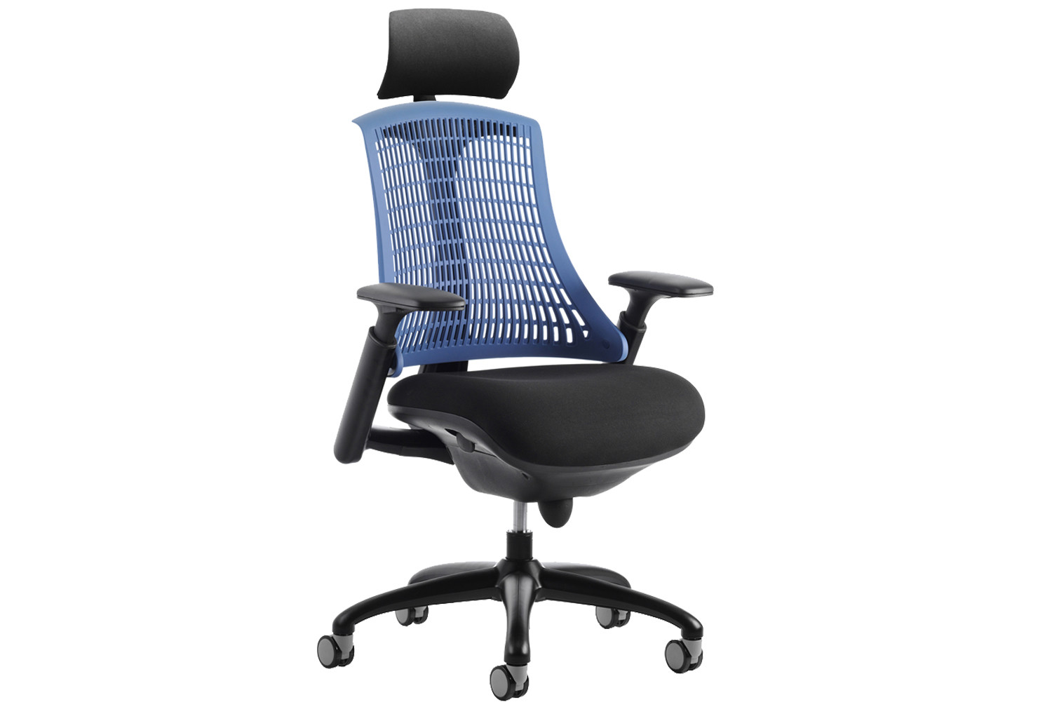 Warp black frame blue mesh back operator chair with headrest