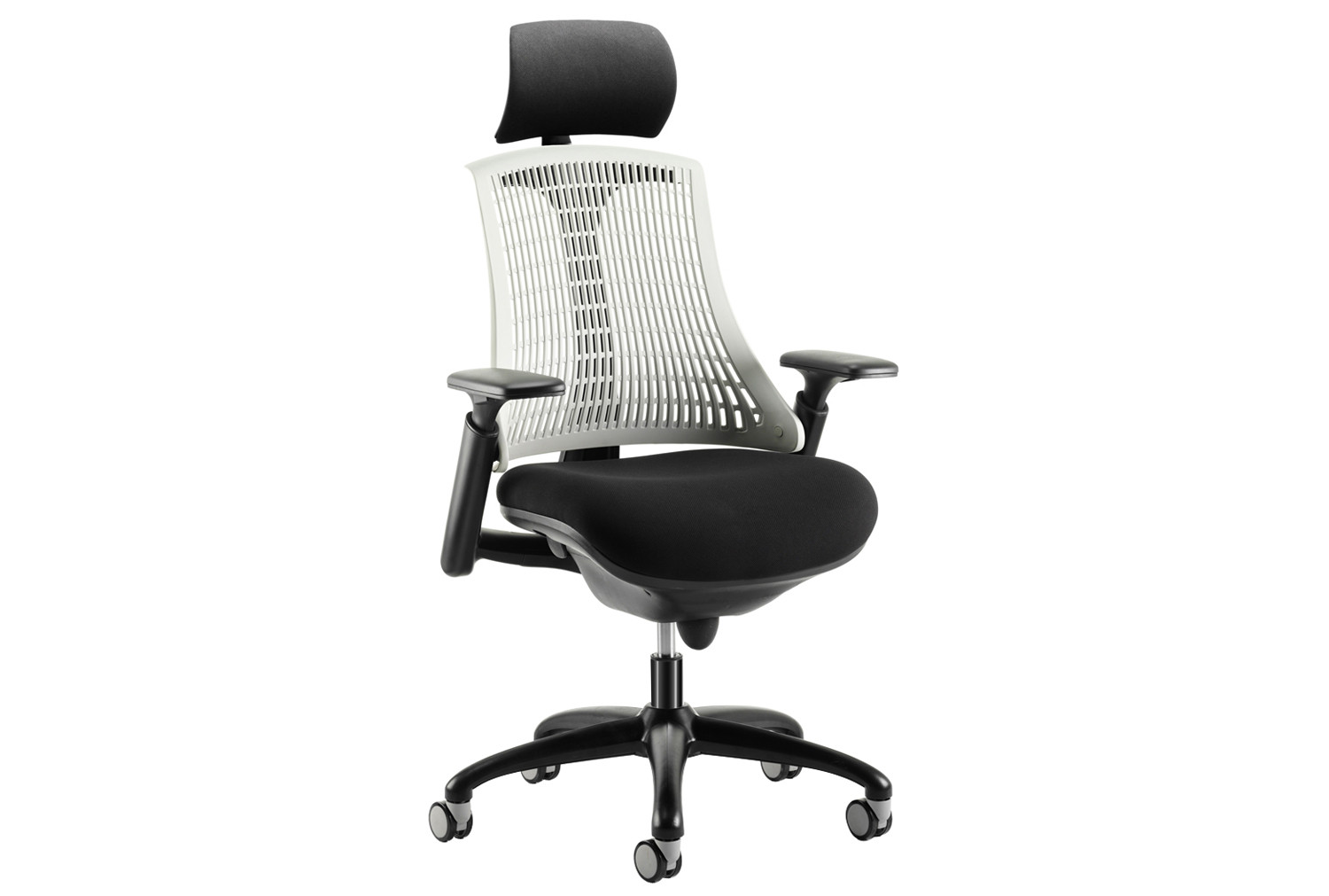 Warp black frame white mesh back operator chair with headrest