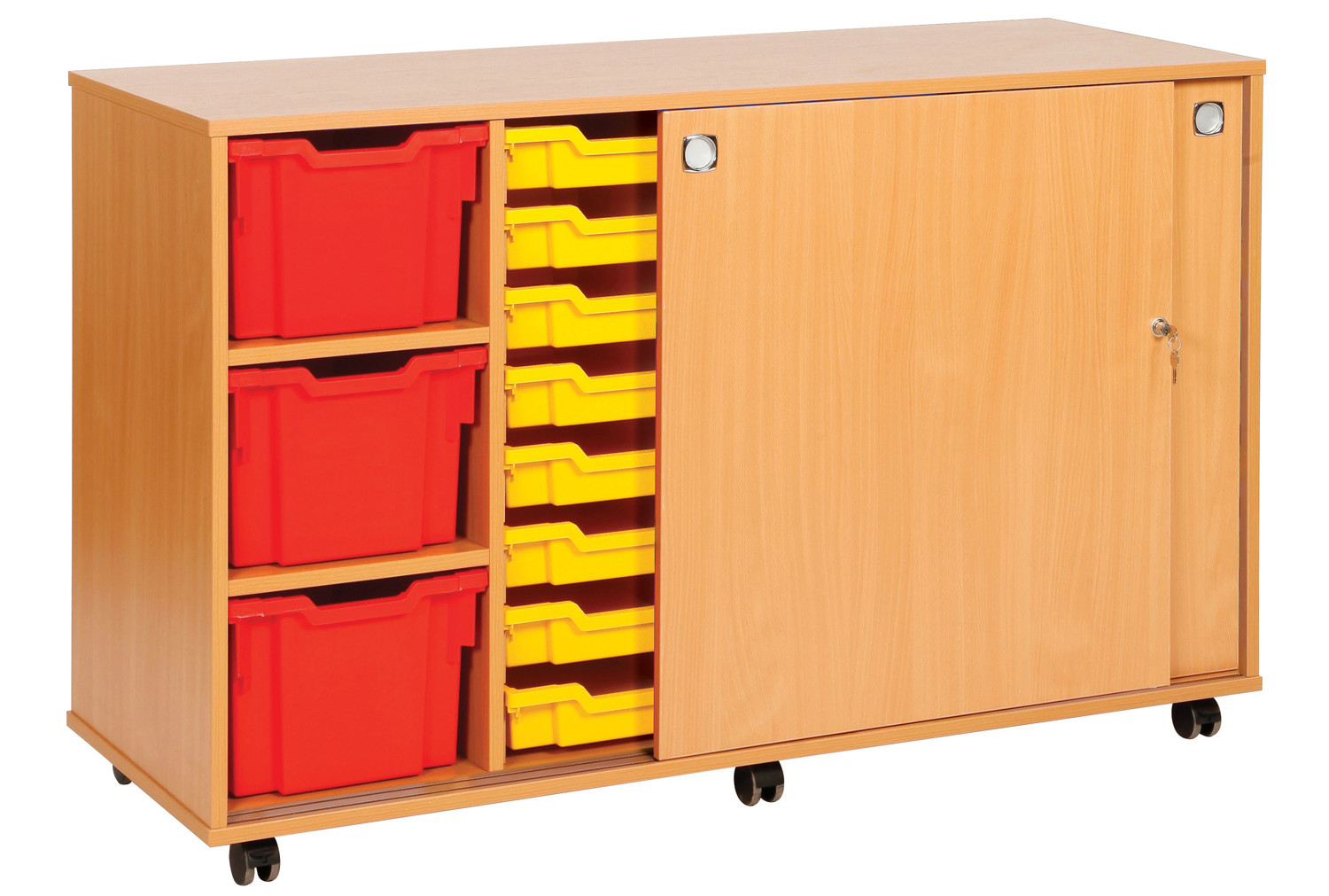22 Tray Storage Unit With Sliding Door. Find Loads More Colours, Materials & Styles Online - Buy Office Furniture Online