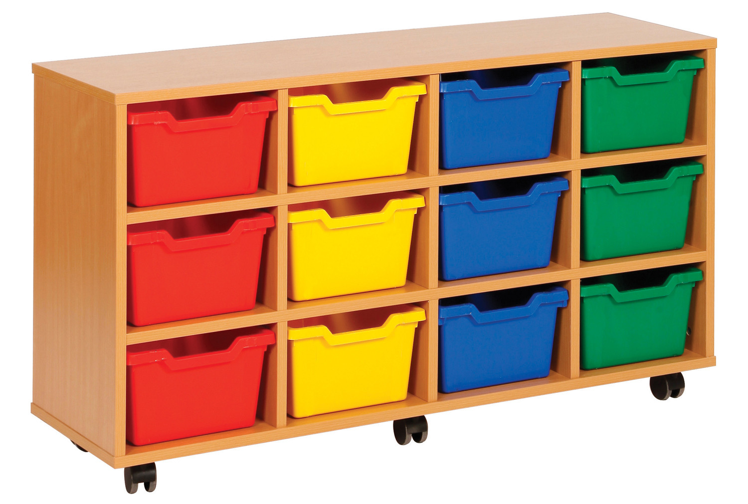 Cubby tray storage unit with 12 trays
