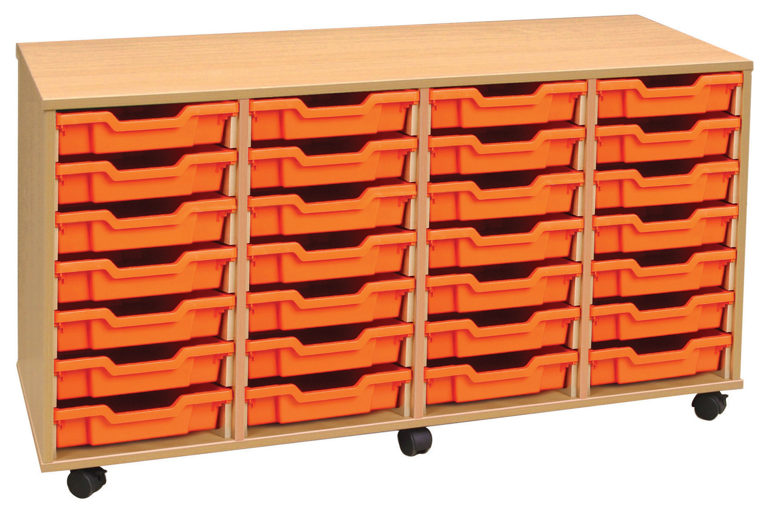 4 bay shallow tray storage with 28 trays