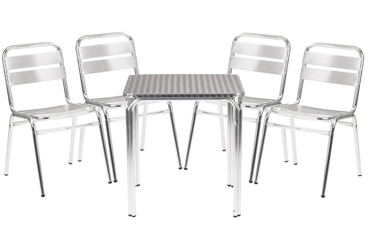 Rio aluminium square table and 4 chairs