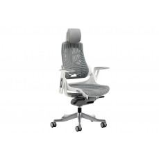 Zephyr high back grey executive operator chair with headrest