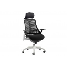 Warp white frame black mesh back operator chair with headrest