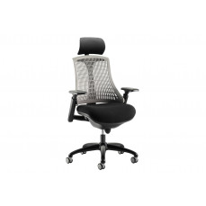 Warp black frame grey mesh back operator chair with headrest