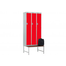 Stand and seat for metric lockers