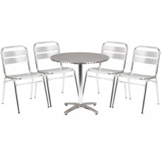 Rio aluminium circular table and 4 chairs