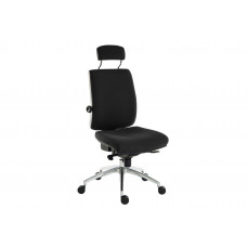 Baron deluxe 24hr ergonomic chair with headrest (fabric)