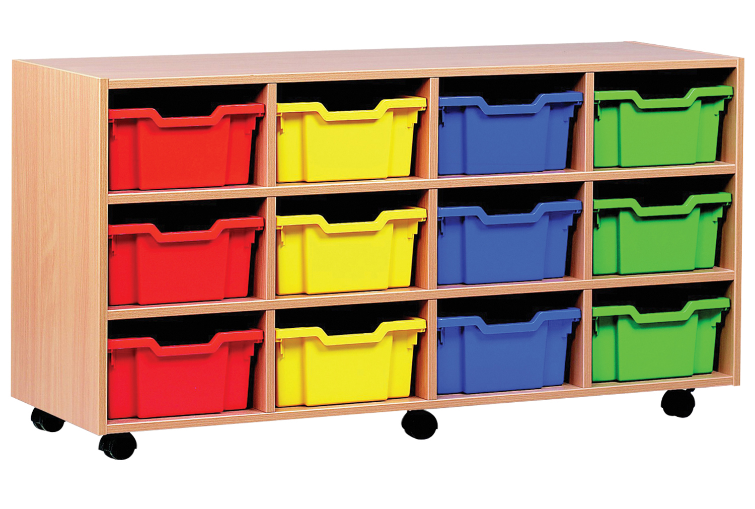 Image of 12 Deep Tray Storage Unit, Red/Blue/Yellow