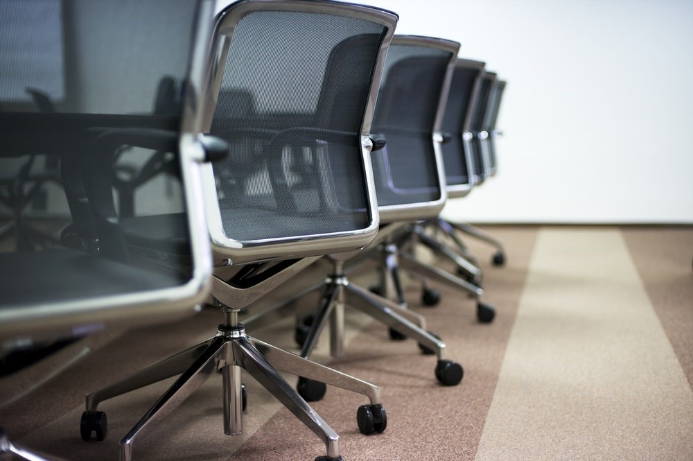 Office chairs in a line