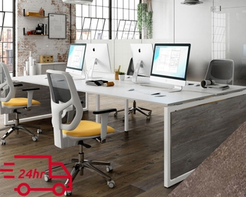 Next-Day Lasso Bench Desks (Pitted Steel)