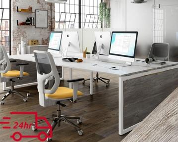 Next-Day Lasso Bench Desks (Platinum Oak)