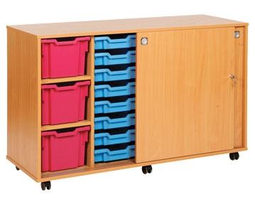 Sliding Door Tray Storage Units
