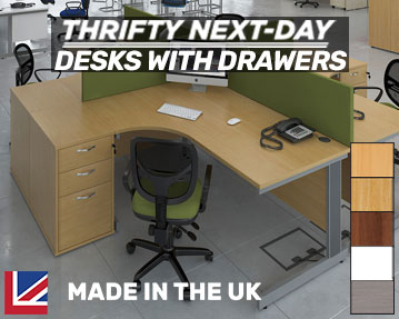 Thrifty Next-Day Office Desks With Drawers