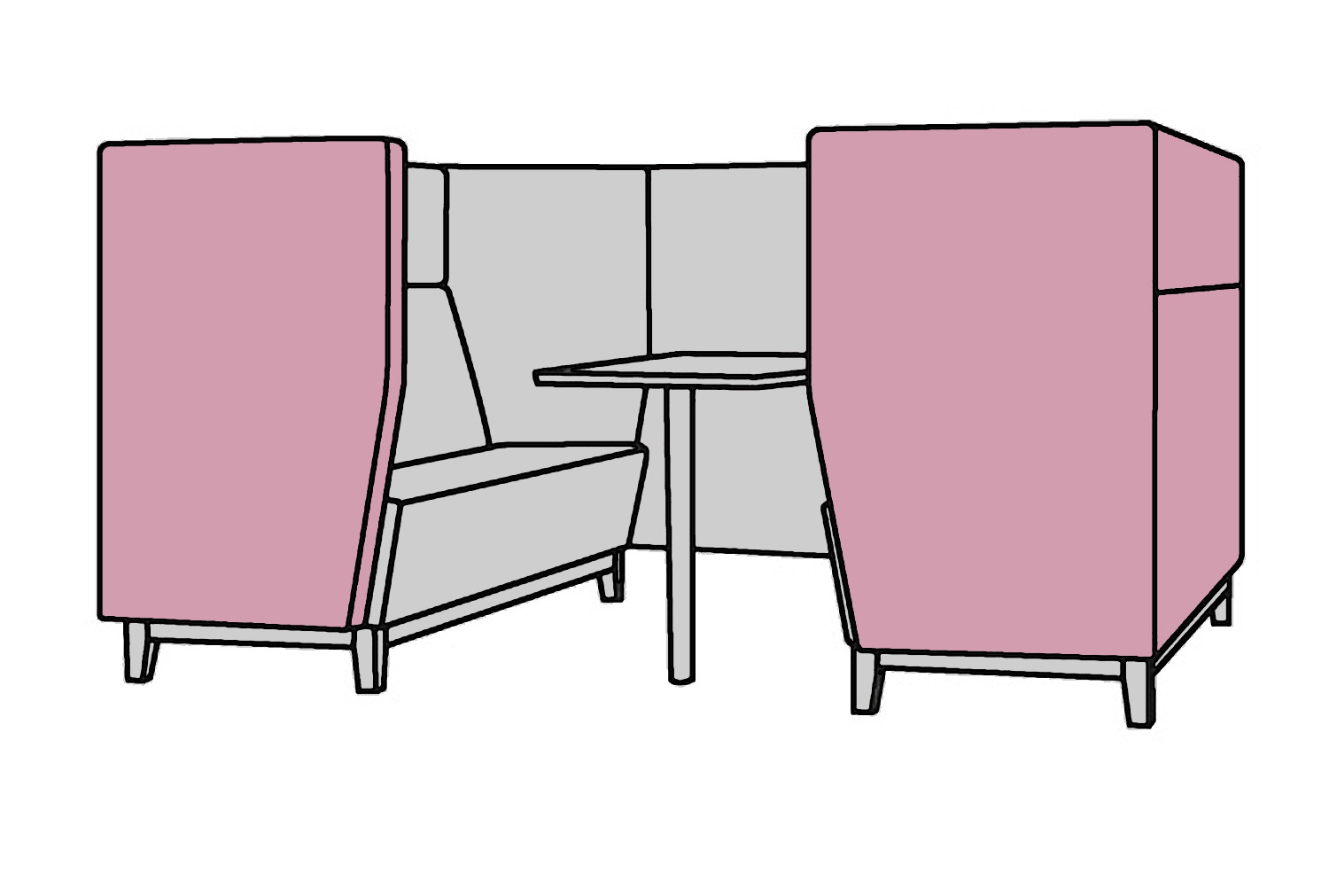 Niche Narrow 4 Seater Meeting Pod With Wooden Legs
