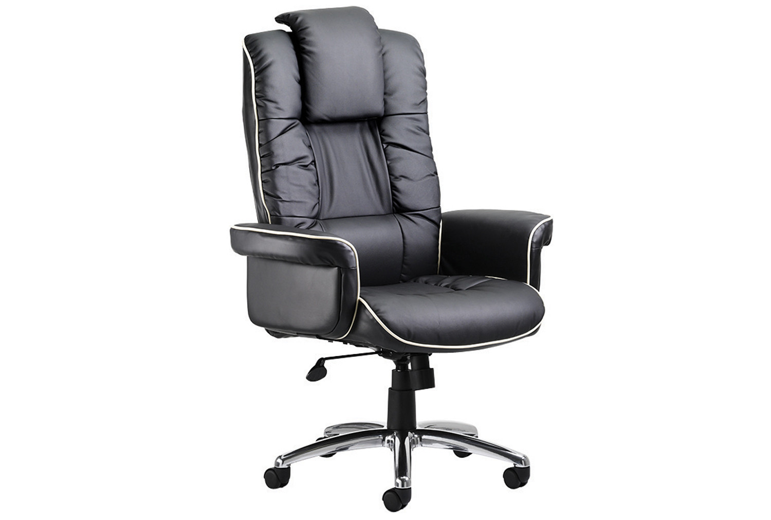 Preto Black Leather Faced Executive Chair