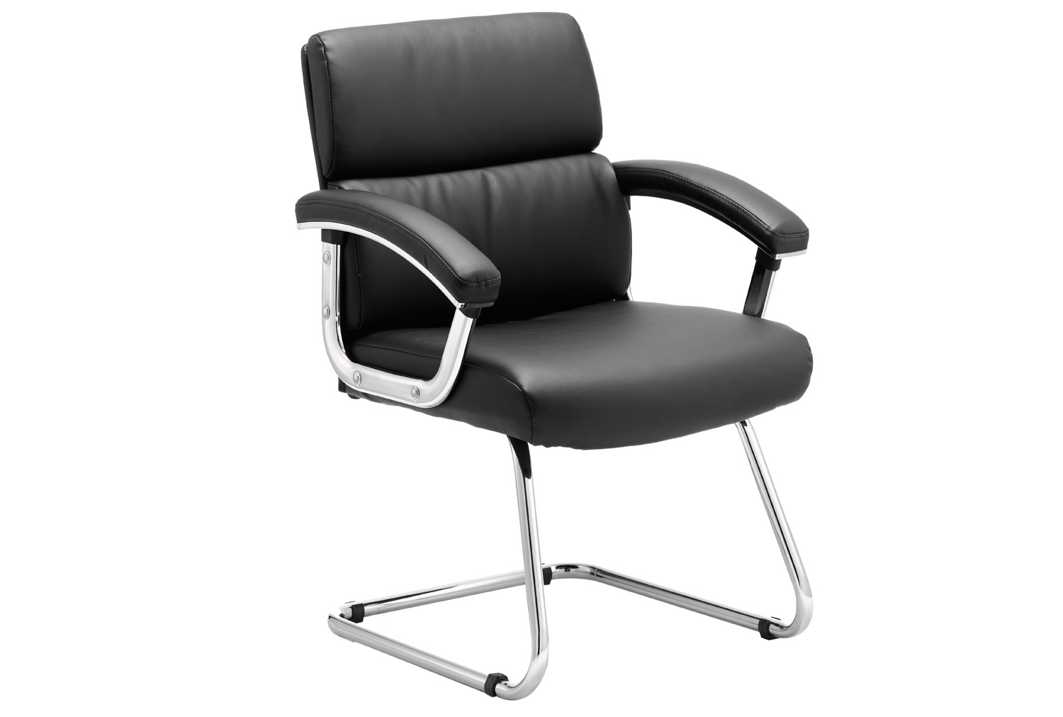Crave Black Bonded Leather Visitor Chair