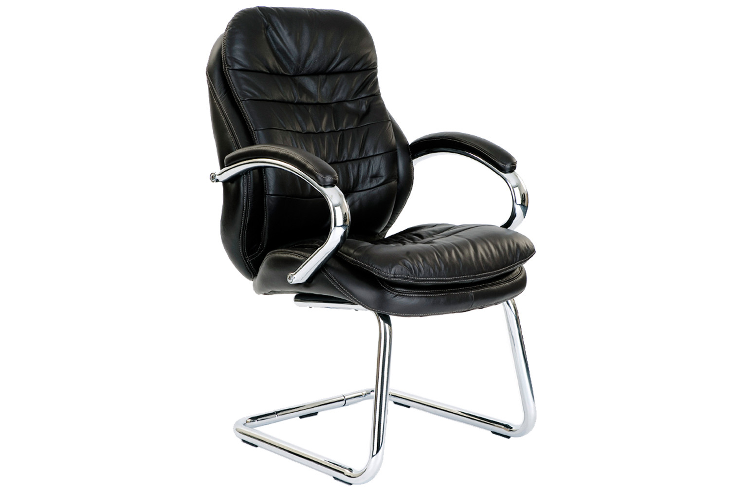 Nairn Black Leather Faced Visitor Chair