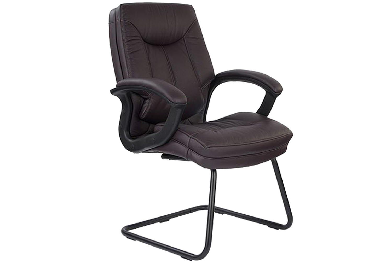 Clayton Burgundy Leather Faced Visitor Chair