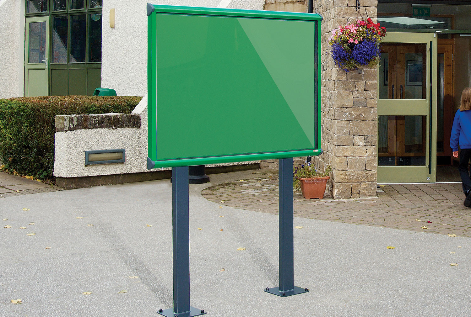Shield Coloured Framed Exterior Showcase With Bolt Down Posts