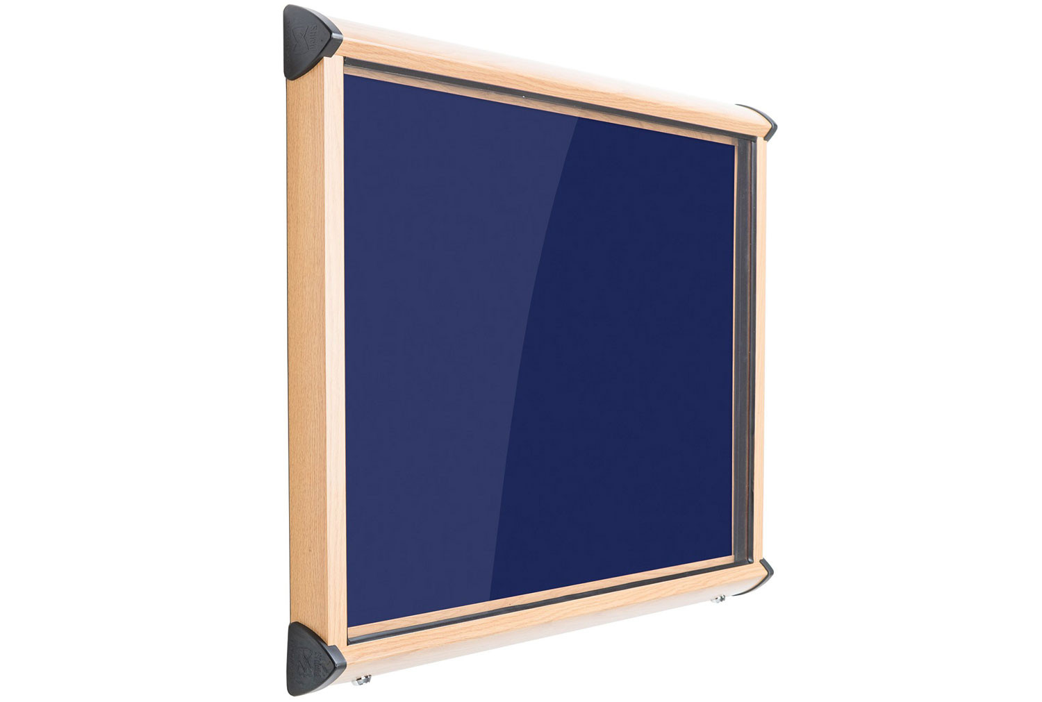 Shield Wood Effect Showcase With Top Hinged Doors