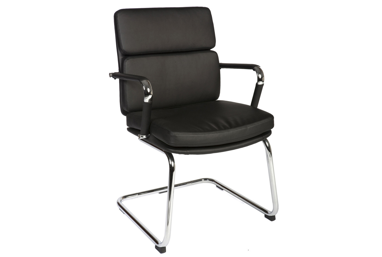 Crowne Leather Faced Visitor Chair (Black)