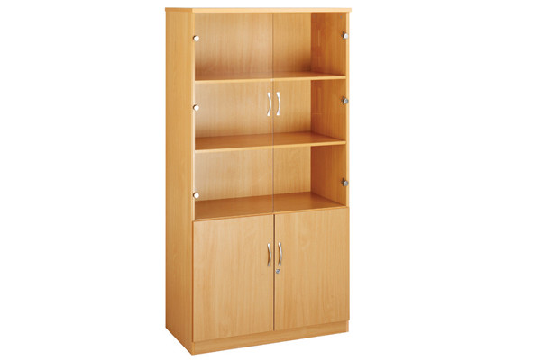 High capacity glazed top cupboards