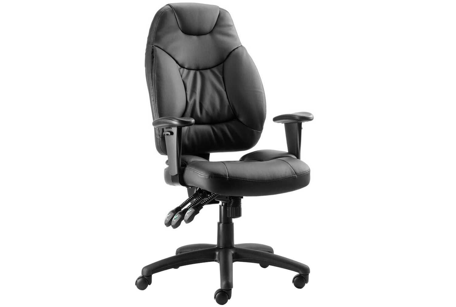 Black Ankara High Back Leather Faced Operator Chair