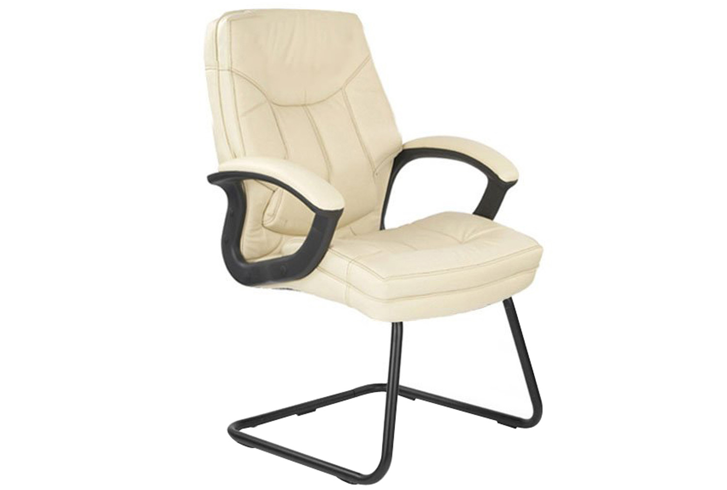 Clayton cream leather faced visitor chair