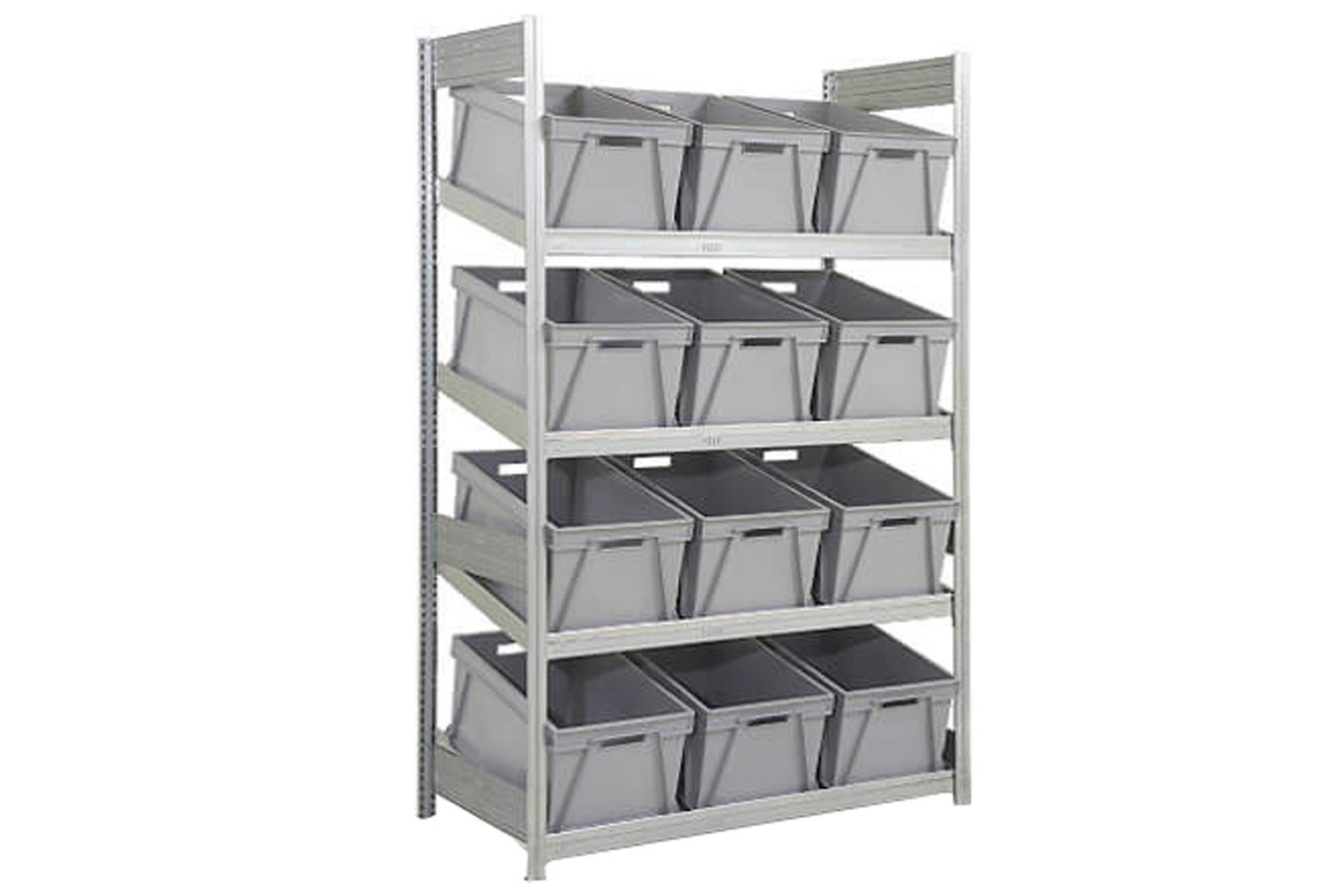Single depth galvanized sloping shelves with 12 plastic boxes