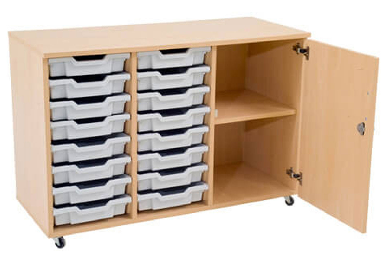 Mobile storage unit with 1 shelf and 16 shallow Gratnells trays