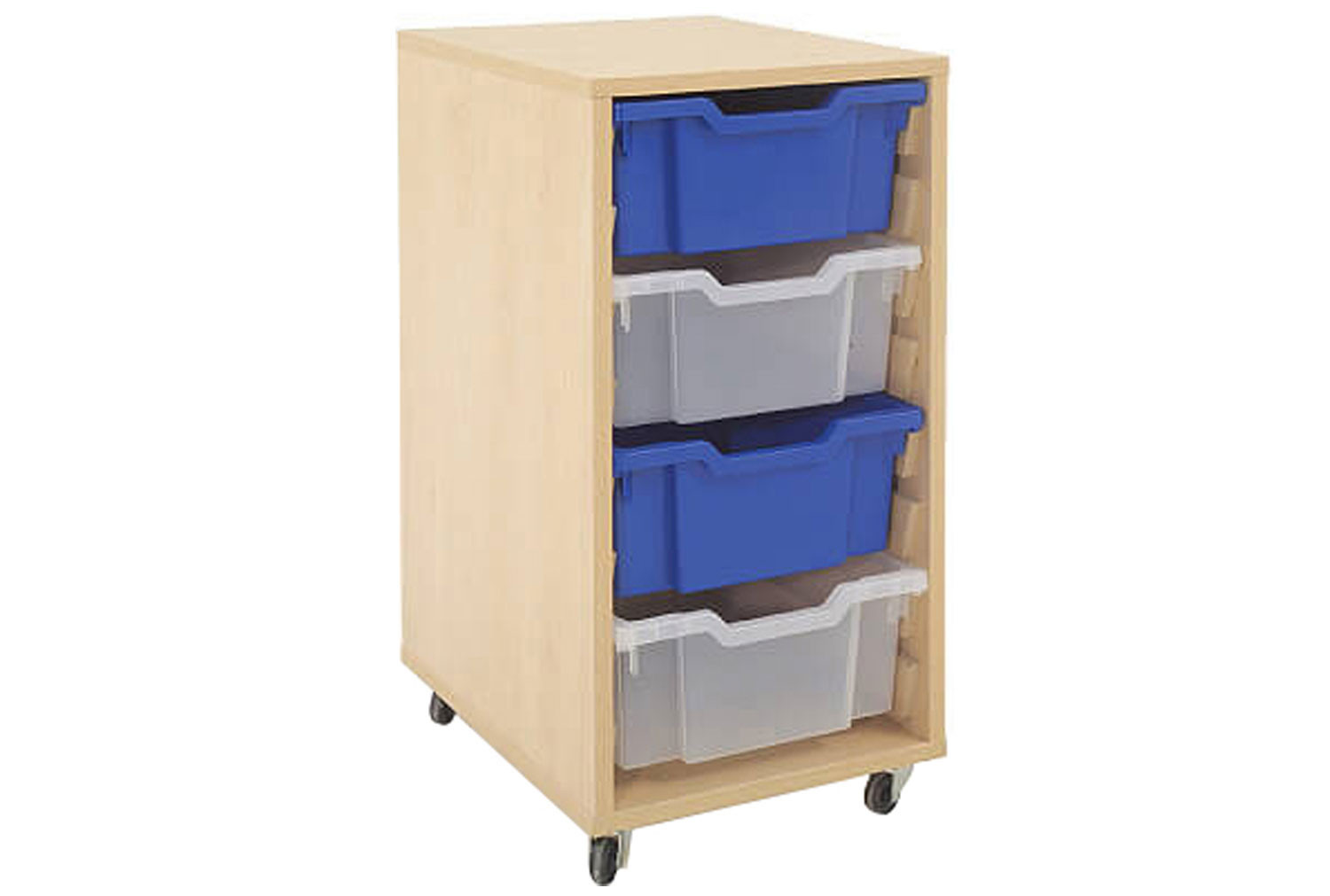 Mobile tray storage unit with 4 deep Gratnells trays