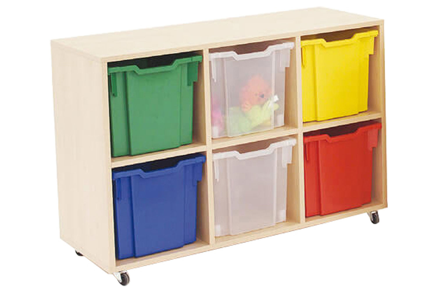 Mobile tray storage unit with 6 free clear jumbo Gratnells trays