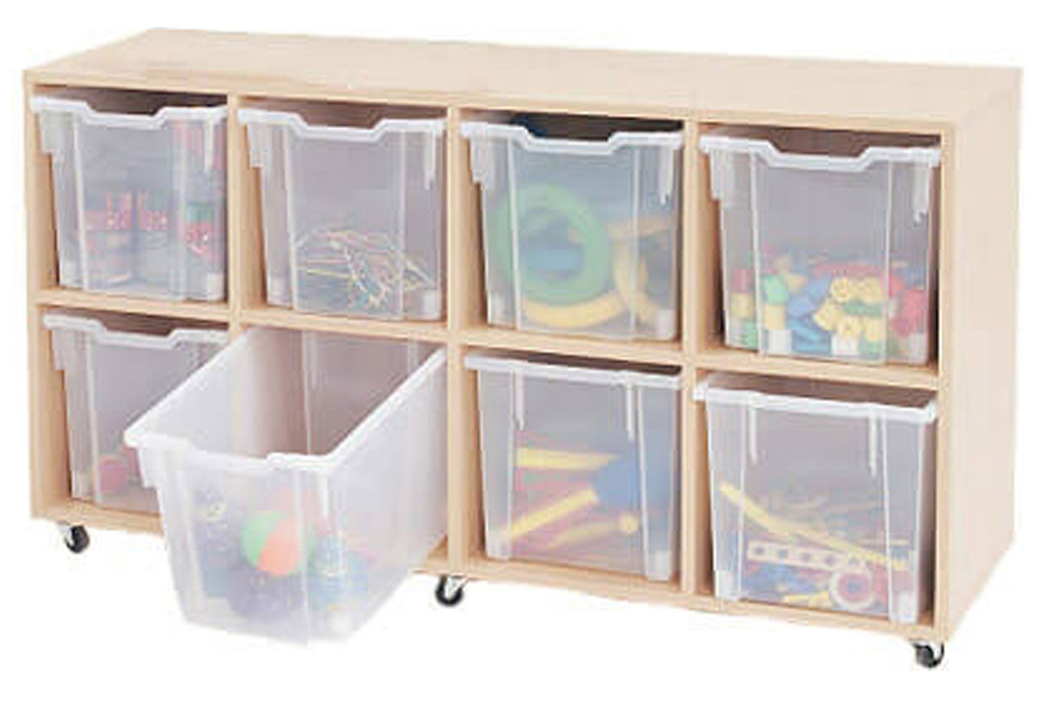 Mobile tray storage unit with 8 clear jumbo gratnell trays