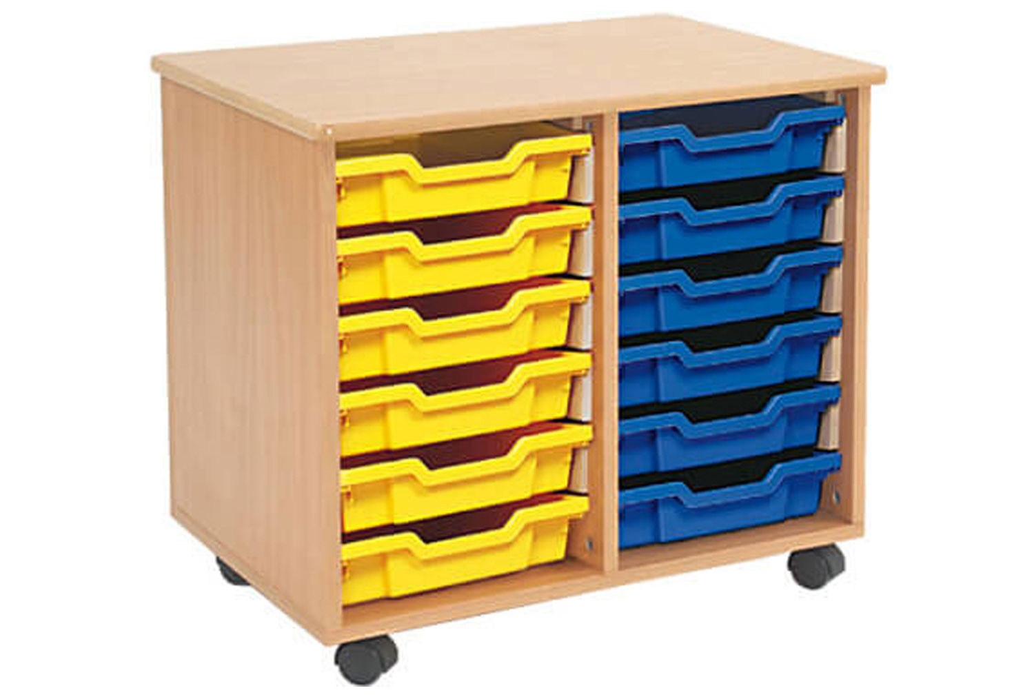 mobile tray storage unit with 12 shallow gratnells trays. Black Bedroom Furniture Sets. Home Design Ideas