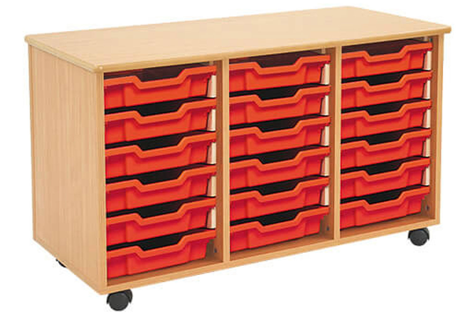 Mobile tray storage unit with 18 shallow Gratnells trays