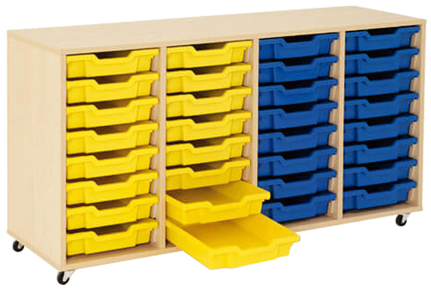 Mobile tray storage unit with 32 shallow Gratnells trays