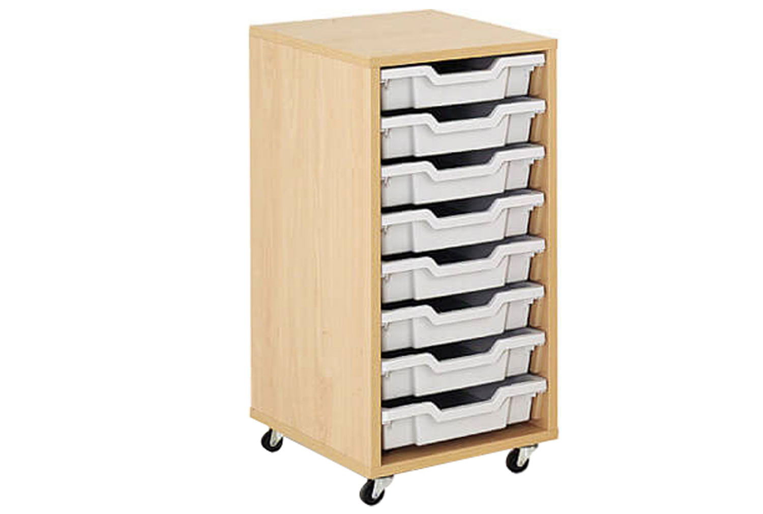 Mobile tray storage unit with 8 shallow Gratnells trays
