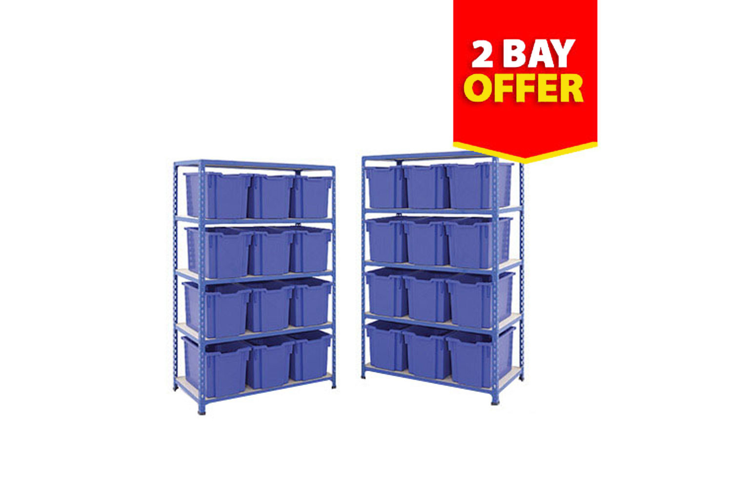 Rapid 2 shelving bay bundle deal with 24 jumbo Gratnells trays