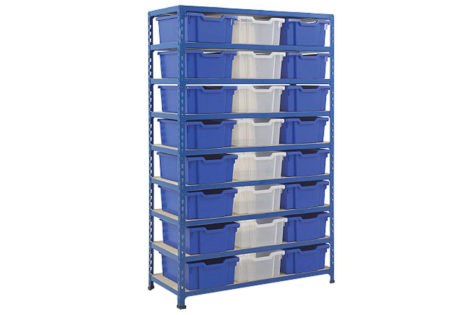 Rapid 2 shelving bay with 24 deep Gratnells trays