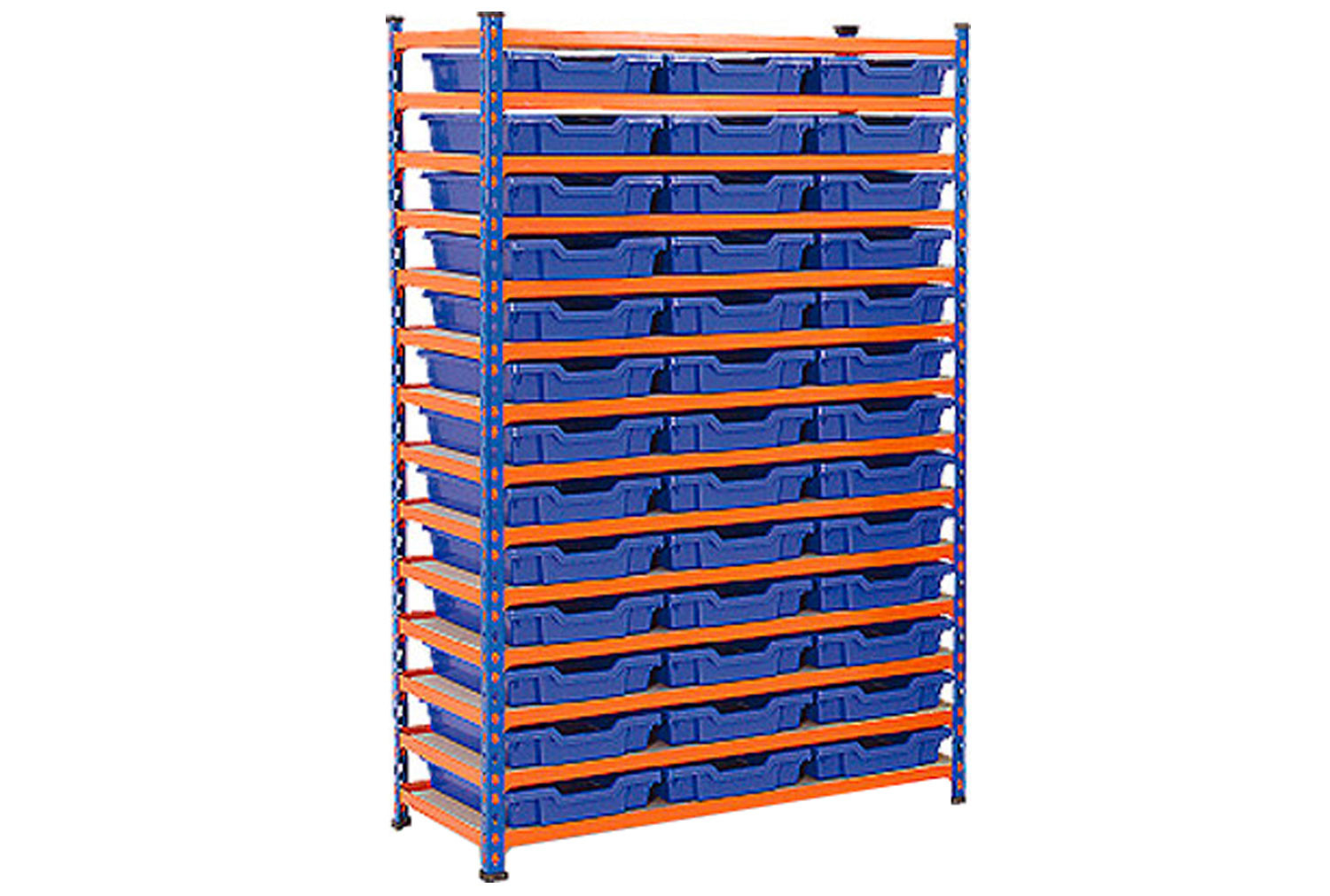 Rapid 2 shelving bay with 39 shallow Gratnells trays
