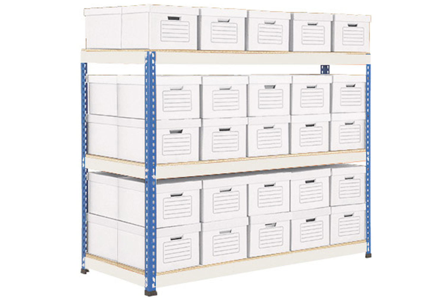 Rapid 1 double sided archive storage unit with 50 boxes (blue/grey)