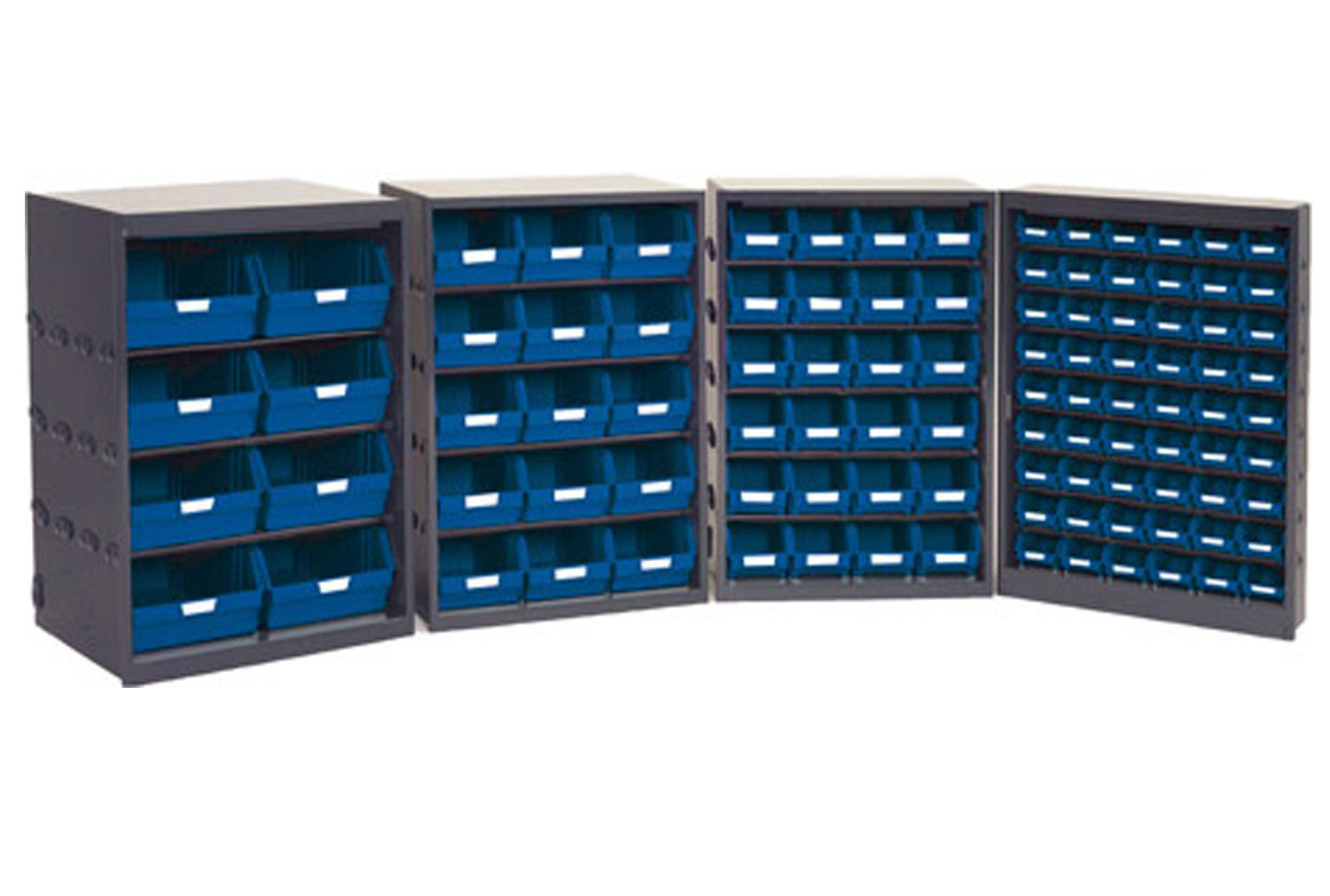 Half height open fronted budget picking bin cupboards