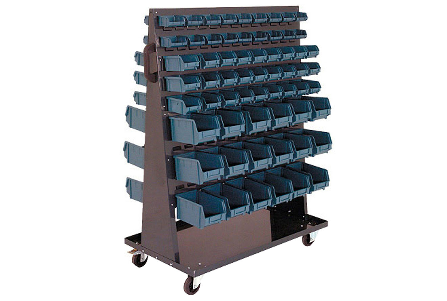 Double sided bin trolley with 126 picking bins