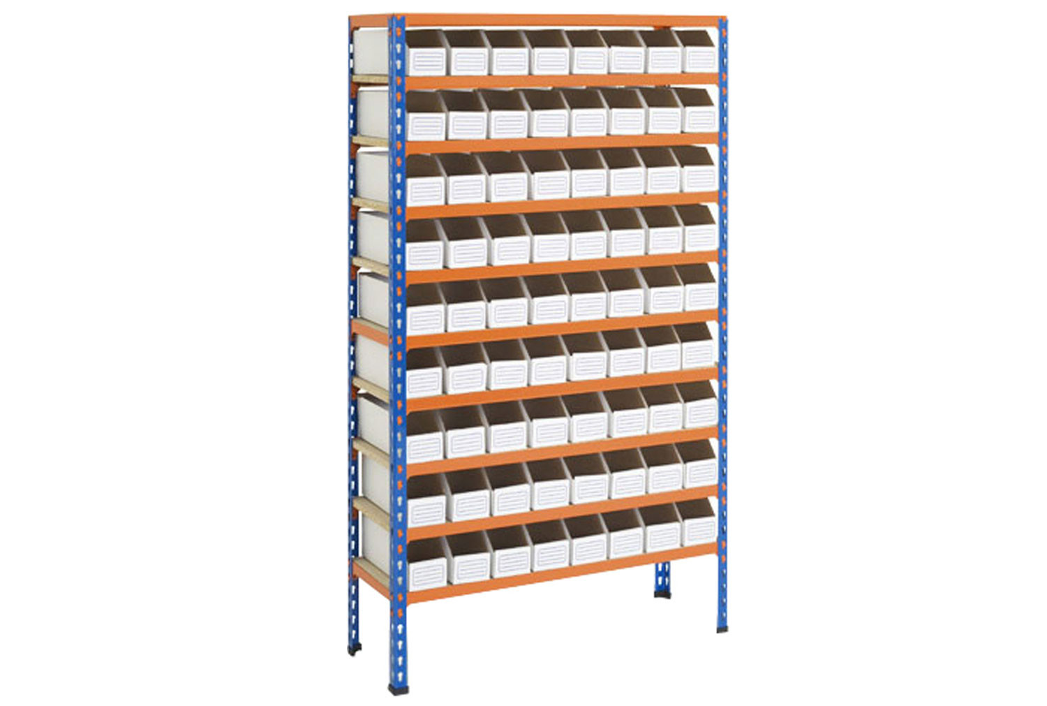 Rapid 2 shelving with 72 cardboard picking bins