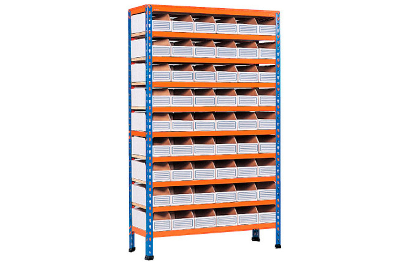 Rapid 2 shelving with 54 cardboard picking bins