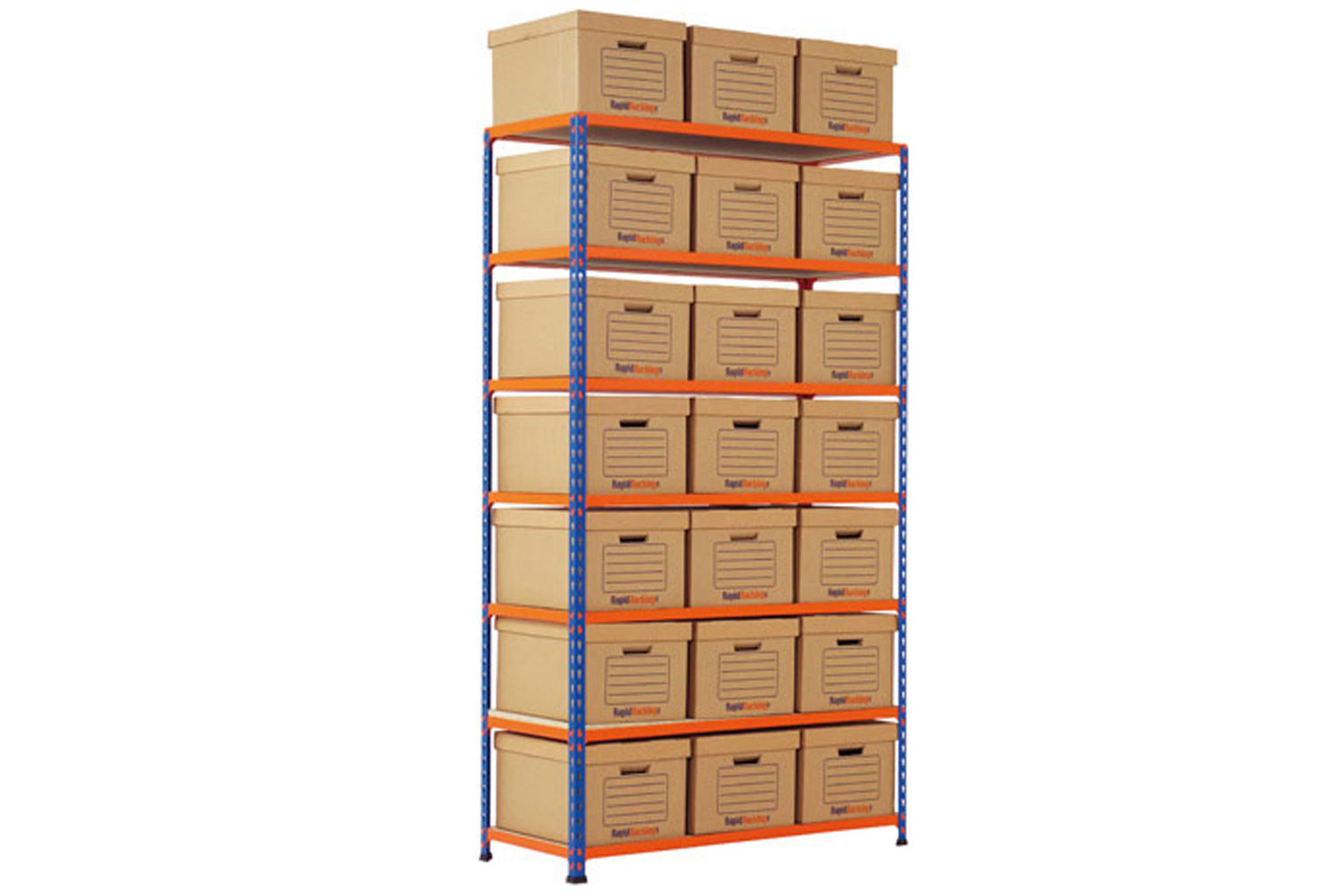 Rapid 2 single sided storage bay with 21 brown document boxes